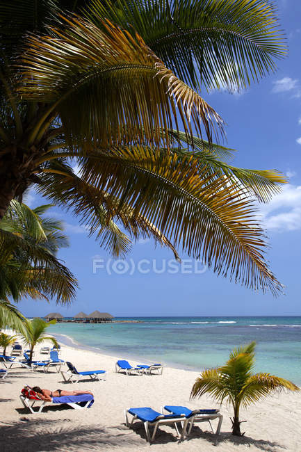 Caribbean sea and view of sandy beach with palms and chairs — Stock Photo