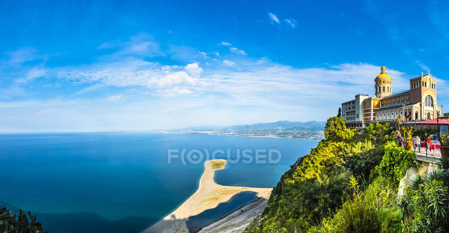 View of church on cliff over water during daytime — Stock Photo