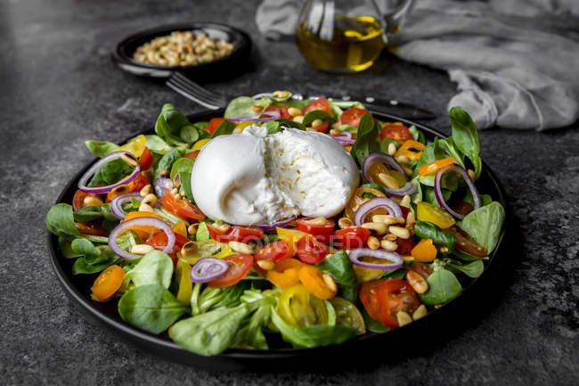 Assiette de salade de tomates avec Burrata — Photo de stock