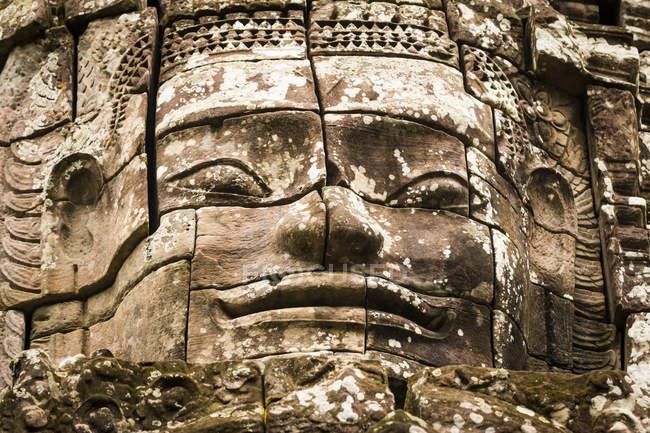 Kambodscha, Siem Reap, Ангкор, Байон Темпе, переглянути старі давня скульптура — стокове фото