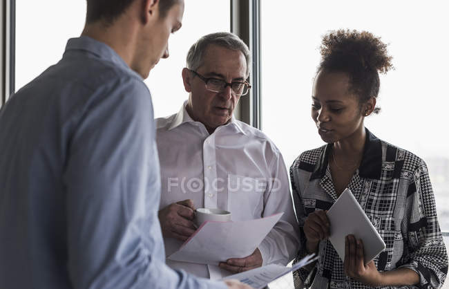 Senior manager discussing documents with young coworkers — Stock Photo