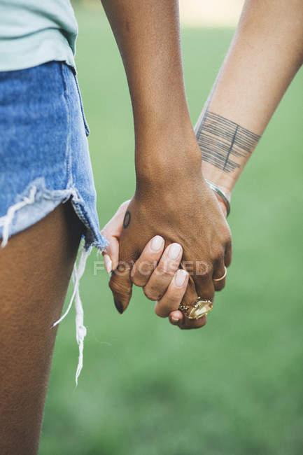 Primer plano de dos mujeres agarrados de la mano en un parque - foto de stock