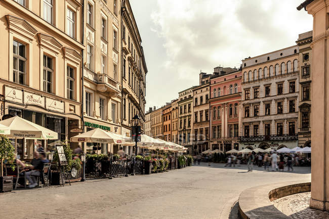 Poland, Krakow, Old Town, town houses at Main Square — Stock Photo