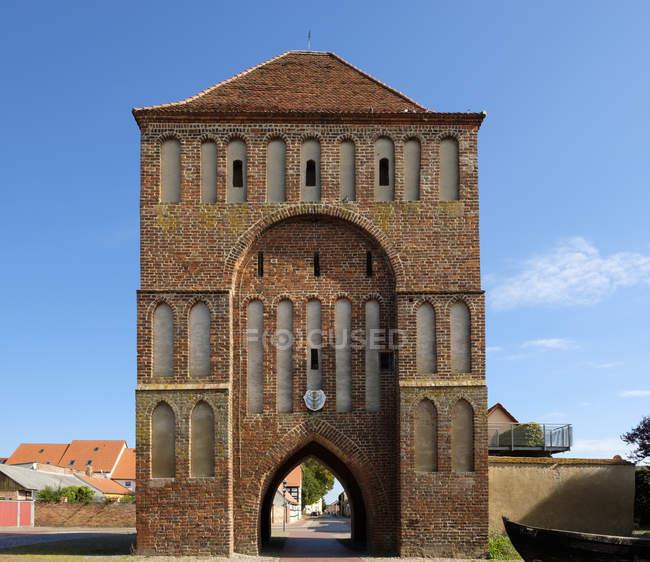 Ansicht der Anklamer Tor, Mecklenburg-Vorpommern, Deutschland — Stockfoto