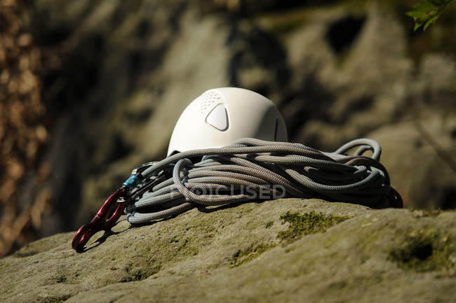 Climbing equipment on a rock, close up — Stock Photo