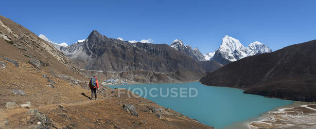 Nepal, Himalaya, Khumbu, Everest region, Renjo La, Gokyo Lake, hiker walking on path — Stock Photo