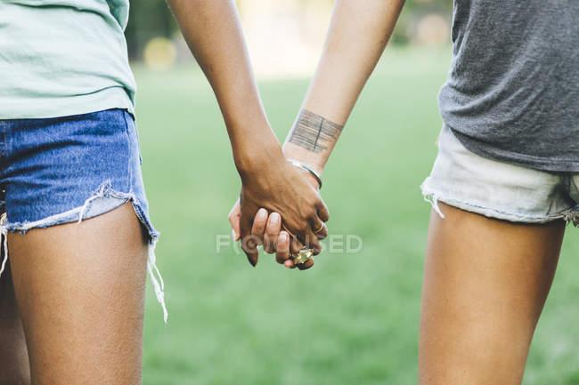 Крупным планом Две женщины держатся за руки в парке — стоковое фото
