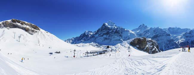 Winter mountains landscape with ski resort — Stock Photo