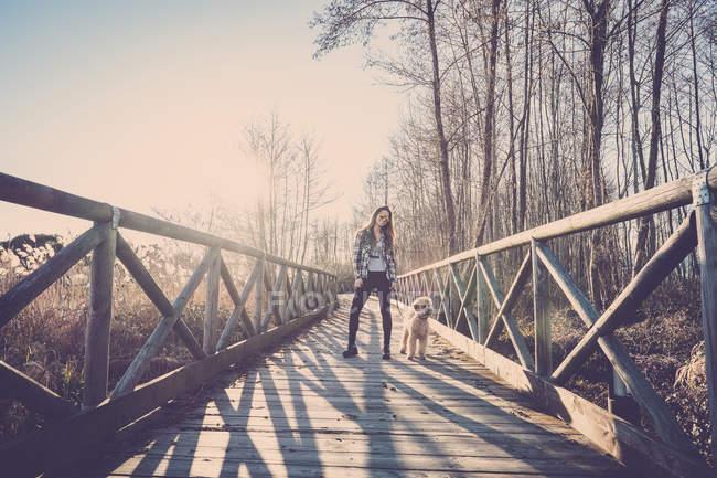 Frau steht bei Sonnenuntergang mit Hund auf Holzsteg — Stockfoto