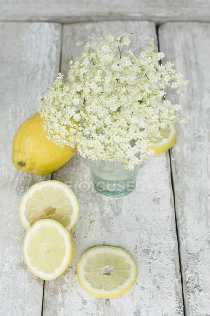 Целом и нарезанные лимоны с elderflowers на белом потрепанный древесины — стоковое фото