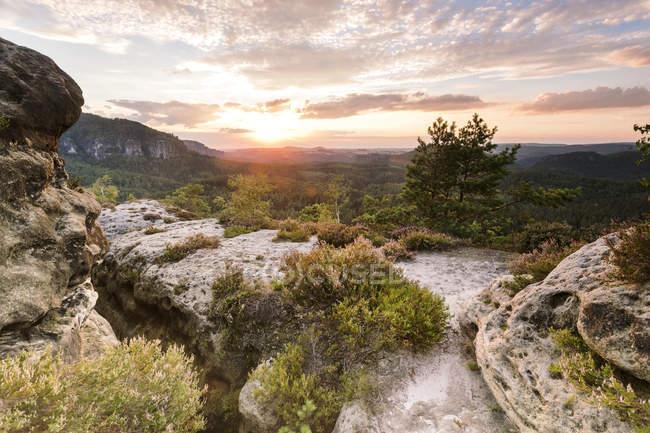 Europe, Allemagne, Saxe, Schsische Schweiz, Kleiner Zschand, Hinteres Raubschloss vue des rochers et des arbres et des plantes — Photo de stock