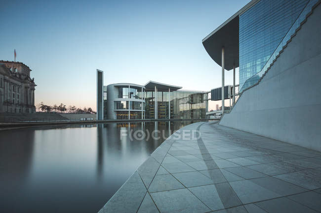 View of modern buildings over water, berlin, germany — Stock Photo