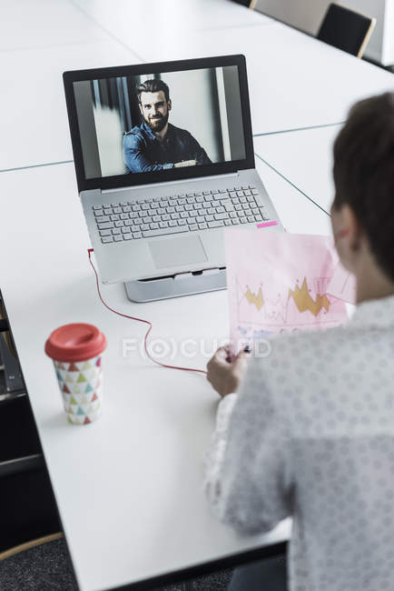 Portrait of business colleagues on video conference — Stock Photo