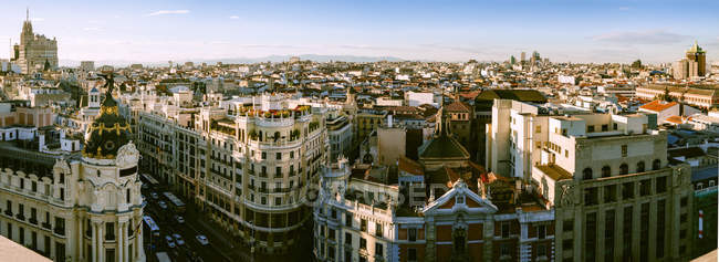 Spain, Madrid, cityscape with Gran Via street — Stock Photo