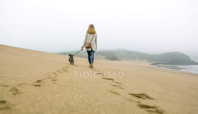 Spain, Asturias, Rear view of woman walking by the lonely beach with her dog — Stock Photo