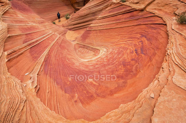 EUA, Arizona, Página, Paria Canyon, Vermillion Cliffs Wilderness, Coyote Buttes, turista em um pequeno desfiladeiro — Fotografia de Stock
