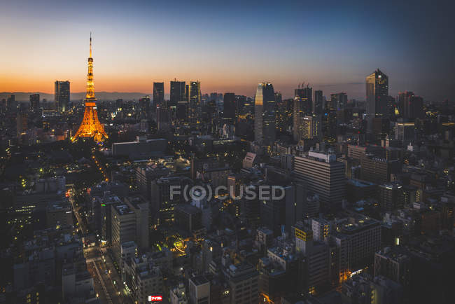 Japan, Tokyo, view from the World Trade Center on the skyline and the Tokyo Tower — Stock Photo