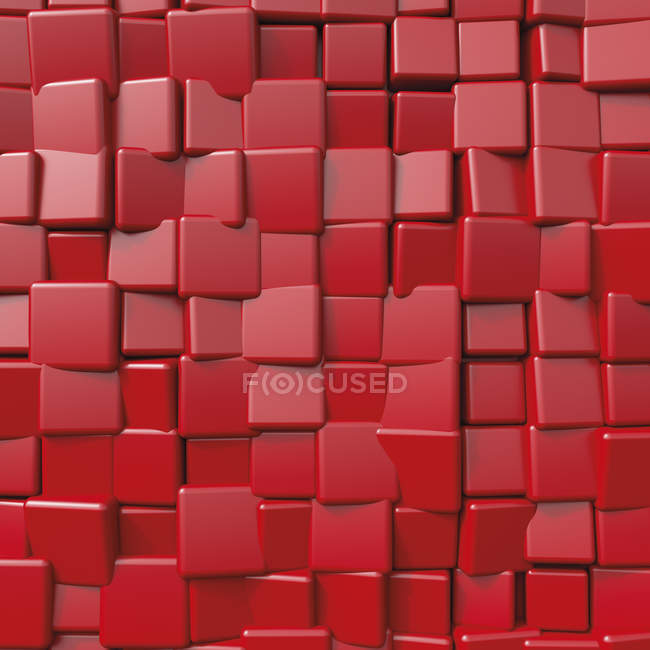 Red cubical shape, 3D Rendering — Stock Photo
