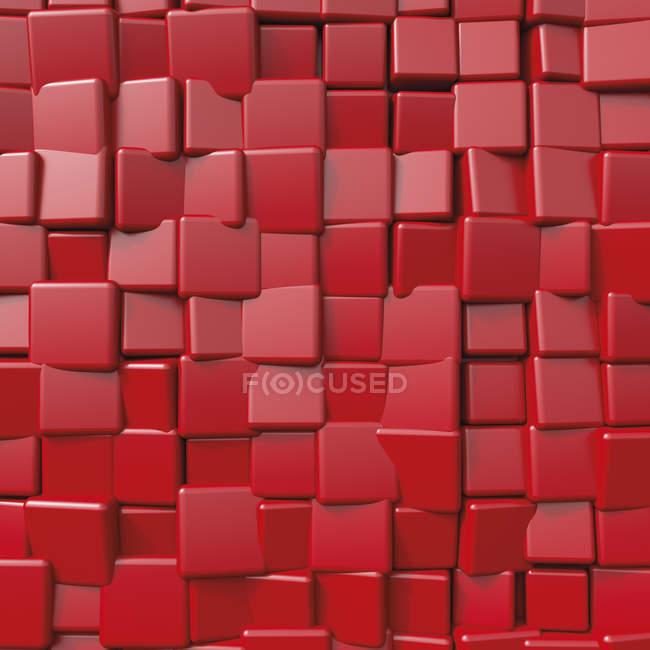Forma cubical roja, representación 3D - foto de stock