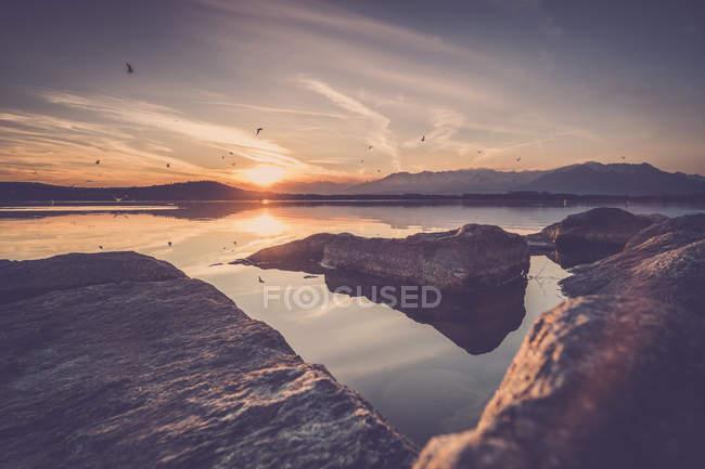 Roches à la surface de l'eau à l'aube — Photo de stock