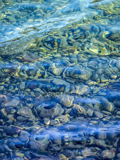 Галька під чистою водою озера — стокове фото