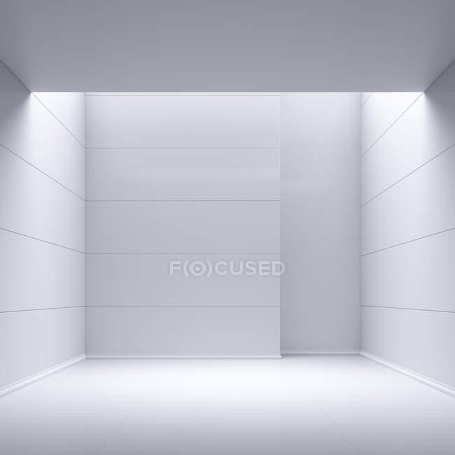 Vue de la chambre vide avec murs blancs — Photo de stock