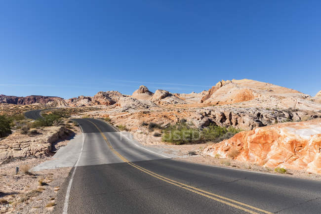 USA, Nevada, Valley of Fire State Park, scenic road between sandstone and limestone rocks — Stock Photo