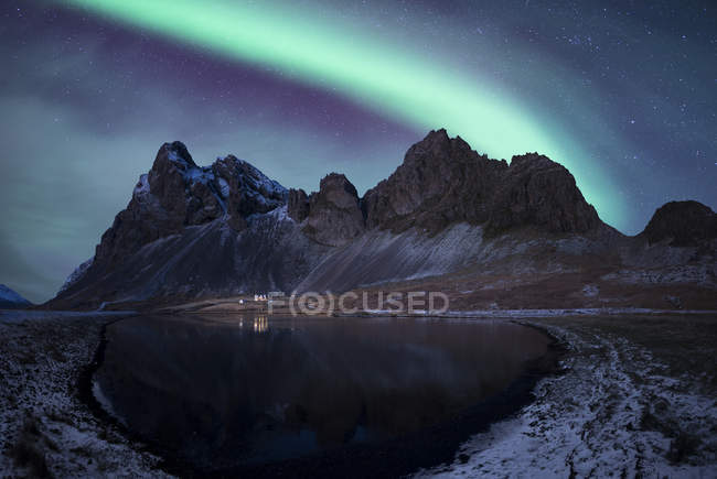 Iceland, landscape with Aurora Borealis — Stock Photo