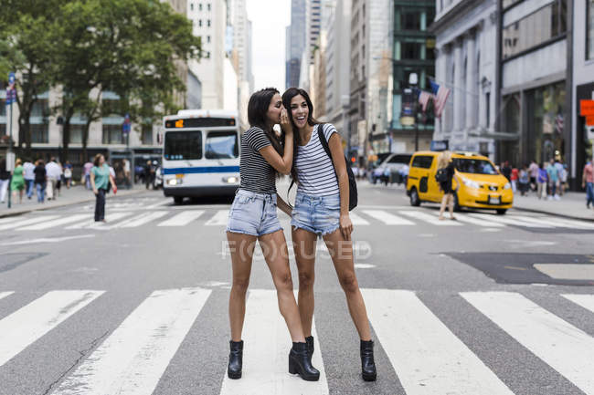 Portrait of two young women standing and whispering on zebra crossing — Stock Photo