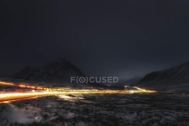 Light Trails, Rannoch Moor, Scotland, UK. — Stock Photo