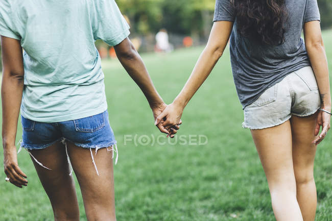 Close-up of two women holding hands walking in a park — Stock Photo