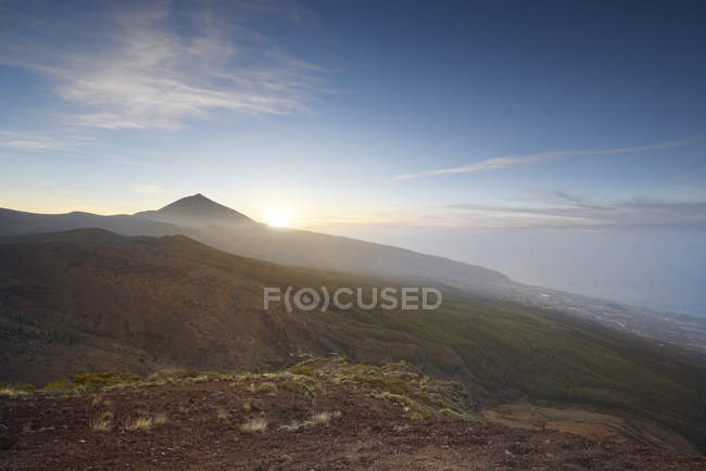 Spain, Tenerife, sunset at Teide National Park — Stock Photo