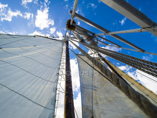Yacht mast view with white sail — Stock Photo