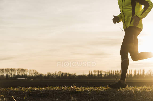 Cropped portrait of young man running in field — Stock Photo