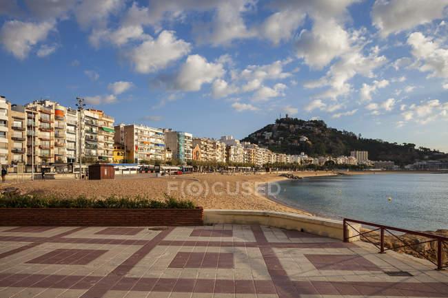 Spain, Catalonia, Blanes, resort town on Costa Brava at Balearic Sea, promenade terrace and skyline — Stock Photo