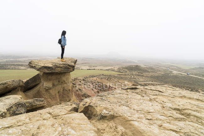 Woman with backpack standing on rock — Stock Photo