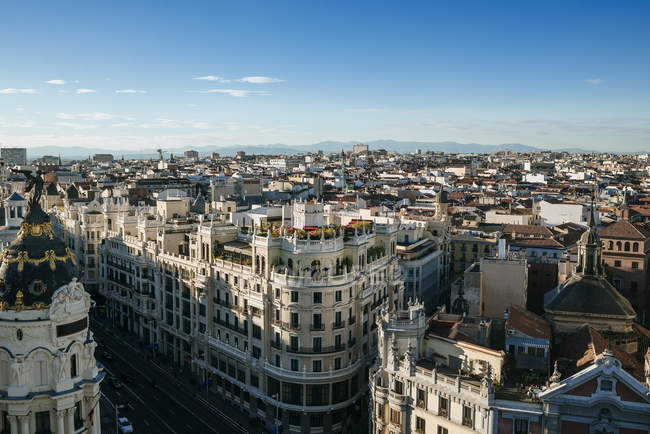 Spain, Madrid, Skyline of Madrid, with Gran Va street. - foto de stock