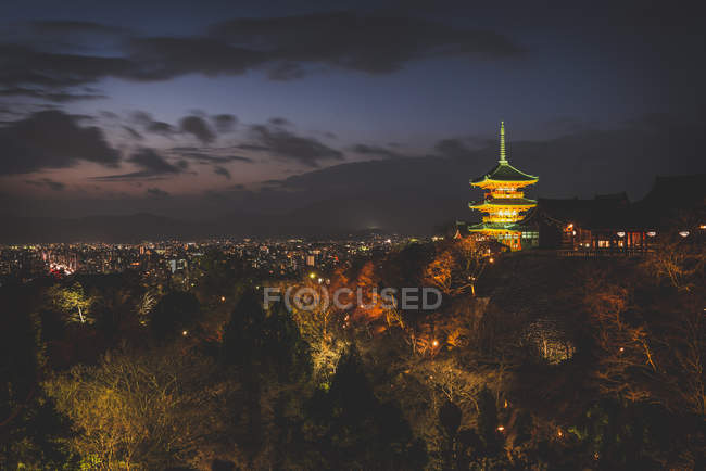 Japan, Kyoto,view of temple complex at night — Stock Photo