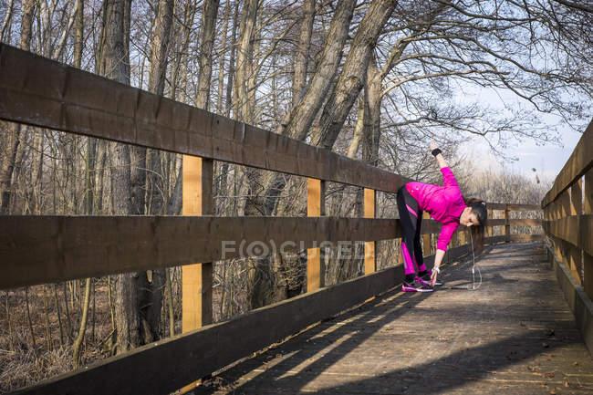 Жінки тягнуться на дерев'яний міст у лісі — стокове фото