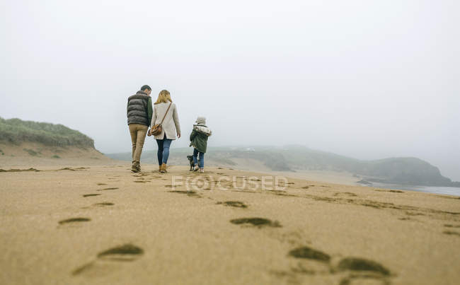 Spain, Asturias, Back view of unrecognizable family walking by the beach in a foggy day — Stock Photo