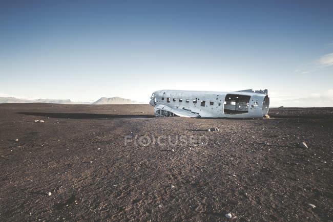 Перегляд авіакатастрофи на полі денний час — стокове фото