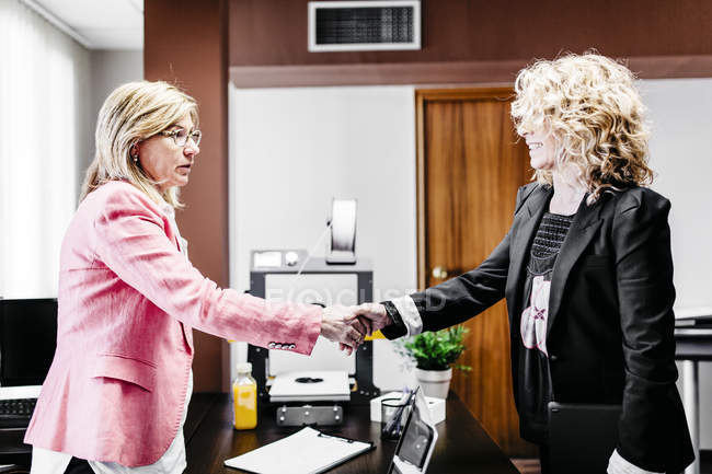 Two businesswomen shaking hands in office — Stock Photo
