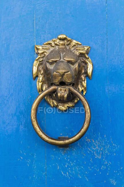 Peru, lion's head door knocker — Stock Photo