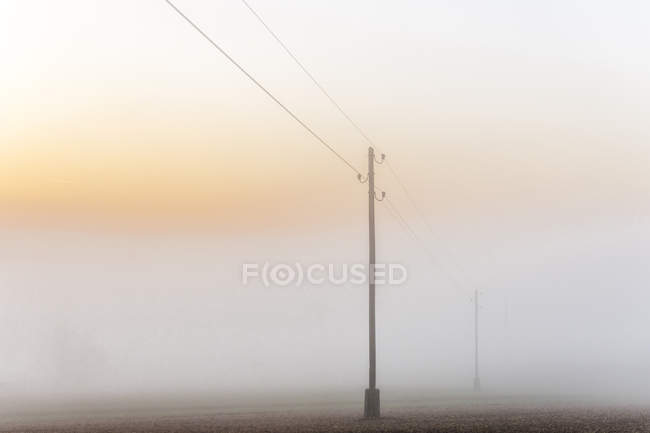 Germany, Baden-Wuerttemberg, Tauberbischofsheim, power pylons in heavy fog — Stock Photo