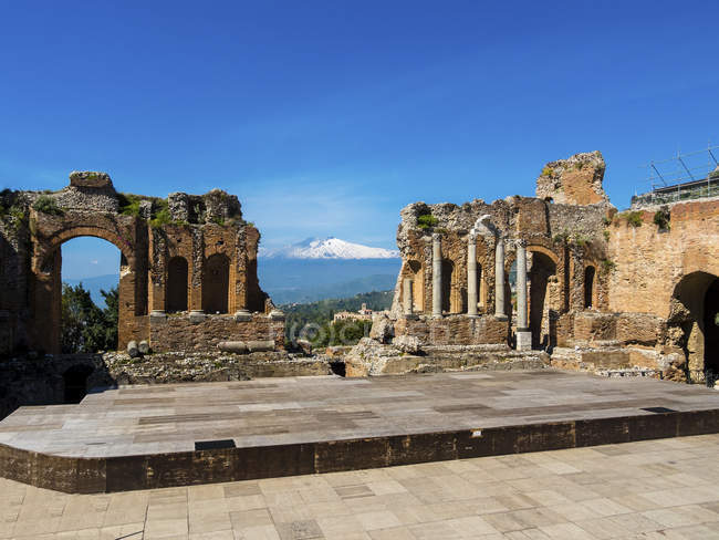 View of ancient theatre  during daytime, italy — Stock Photo