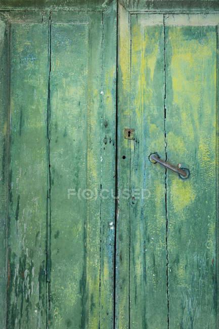 Италия, винтажная деревянная дверь, окрашенная деревянная зеленая дверь — стоковое фото