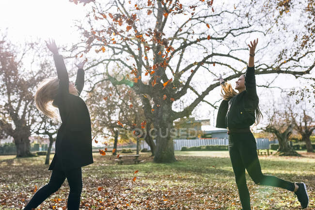 Two friends having fun with autumn leaves — Stock Photo