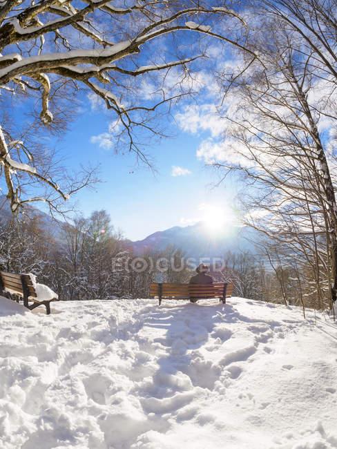 Alemania, Kochel am See, vista trasera del hombre sentado en la banca en el punto de observación en invierno - foto de stock