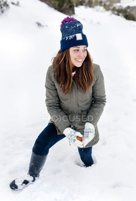 Asturias, Spain, portrait of a beautiful woman in the snow — Stock Photo