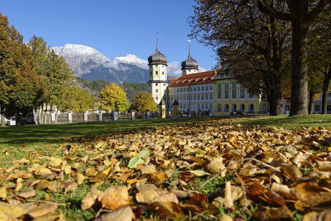 Stams Abbey, Cistercian Abbey, behind Mieminger Gebirge, Stams, Inn Valley, Tyrol, Austria, — Stock Photo